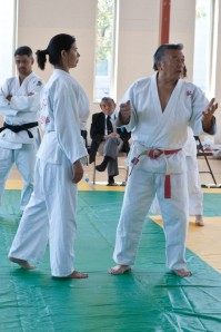 Clinician Edwin Takemori explaining Nage no Kata with the help of Diane Jackson