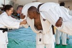Wayne Brown, Baltimore Judo Club, gets ready to throw Wayne Lifshitz, NIH Judo