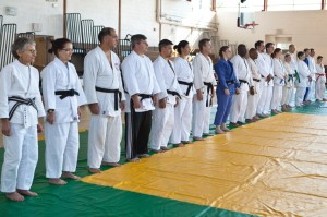 Participants in the Faye Allen Kata event get ready to bow in.