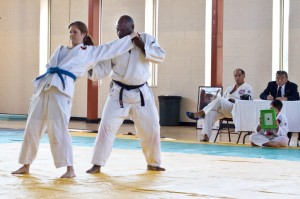 Intermediate Team Michelle Veloso and Wayne Stone perform Ju No Kata