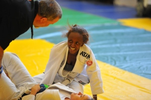 Lightest competitor Destinei Waddy (BETA) stepped up to fight heavier competition with a smile