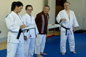 Working out the details. Nage No Kata Clinician Edwin Takemori, Goshin Jutsu clinicians Karen Whilden and Diane Jackson with host Terence McPartland