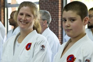 Family Judo strengthens our community. Mom Michelle and son Martin Veloso.