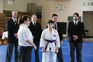 Head Judo Referee Sharon Landstreet (4th Dan - Arlington) gave a rules clinic before matches began. Ambar Graciani (Tech Judo NJ) helped.