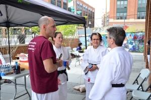 Regional gathering. Wayne Lifshitz (NIH), Danielle Cain (DC Judo, late of Konan Yudanshakai), Karen Whilden from Maryland and John Floyd from Massachussetts