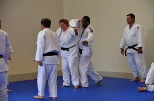 Ju no Kata can be fun. Christina Salmond (Baltimore Judo) and Edmund Nsheuko (College Park)